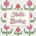 Hello Spring lettering with tulips, imitation of cross-stitch
