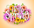 Hello Spring Poster Design in Realistic Colorful Vector Flowers