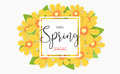 Hello spring season time, sales season banner or poster with col