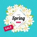 Hello spring season time, sales season banner or poster