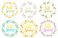 Hello Spring set floral frame for text, isolated on white background. Vector illustration.