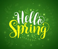Hello spring text typography vector banner design in green background