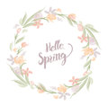 Hello Spring text with watercolor floral wreath border