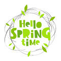 Hello spring time. Lettering. Card