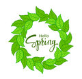 Hello Spring time wreath with green fresh leaves