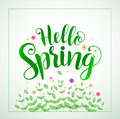 Hello spring typography vector banner design in green color