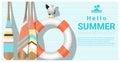Hello summer background with lifebuoy and canoe paddle