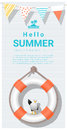 Hello summer background with lifebuoy