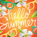 Hello summer background with tropical flowers Royalty Free Stock Photo