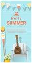 Hello summer background with ukulele on white chair and canoe paddle