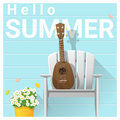 Hello summer background with ukulele on white chair