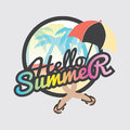 Hello Summer Badge Design. Royalty Free Stock Photo