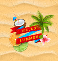 Hello Summer Banner with Flower, Coconut Cocktail, Palm Tree Leaves, Slices of Orange and Lime Royalty Free Stock Photo