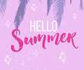 Hello summer banner with hand lettering and palm trees and purple background