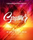 Hello Summer Beach Party Flyer. Vector Design Royalty Free Stock Photo