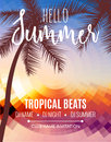 Hello Summer Beach Party. Tropic Summer vacation and travel. Tropical poster colorful background and palm exotic island Royalty Free Stock Photo