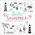 Hello summer black icons Royalty Free Stock Photo