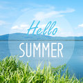 Hello summer on blur sea background