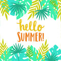 Hello summer. Bright and beautiful card template.