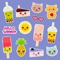 Hello Summer bright tropical fashion patches badges stickers. Applicable for Banners, Poster. Pineapple, cherry smoothie cup, ice