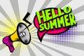 Hello summer comic text pop art colored bubble