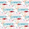 Hello Summer Female Cartoon Seamless Flat Pattern