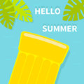 Hello Summer greeting card. Floating yellow air pool water mattress. Top aerial view. Palm tree leaf. Cute cartoon relaxing object Royalty Free Stock Photo