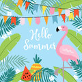 Hello Summer greeting card, invitation, invitations with hand drawn palm leaves, flowers, flamingo bird and party flags