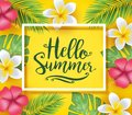 Hello Summer Greeting Inside Frame Creative Design with Flowers and Palm Tree Leaves in Yellow Background. Vector Illustration Royalty Free Stock Photo