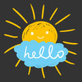 Hello summer hand drawn chalk sun icons. Vector illustration iso