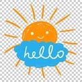 Hello summer hand drawn chalk sun icons. Vector illustration on