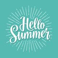 Hello summer hand drawn lettering with rays. Royalty Free Stock Photo