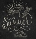 Hello Summer hand lettering composition.