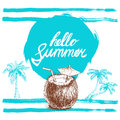 Hello summer hand written phrase on stylized blue background with hand drawn palms. Calligraphy. Inscription ink hello summer.
