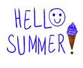 `Hello summer` handwritten blue letters on white background.