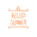 `Hello summer` handwritten orange letters and hand drawn vignette with thumbs up doodle sign.