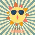 Hello Summer with happy sun on sunburst pattern