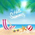 Hello summer holiday background. Season vacation, weekend. Vecto Royalty Free Stock Photo