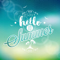 Hello summer i ve been waiting for you inspiration quote on blur background vector typography design element greeting cards Stock Images