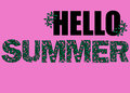 Hello Summer illustration, background. Fun quote hipster design logo or label. Hand lettering inspirational typography post