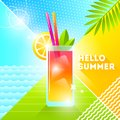 Hello summer - illustration. Cocktail glass on a abstract background. 80`s retro style illustration. Tropical vacation flat design