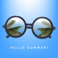 Hello summer illustration. Palms reflection in round sunglasses. Blue sky background. Flecks of sunlight.