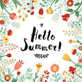 Hello summer ink handwritten lettering illustration with floral frame. Royalty Free Stock Photo