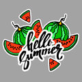 Hello Summer inscription on the background of watermelon. Fashio