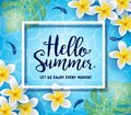 Hello Summer Let Us Enjoy Every Moment Greeting Inside Frame Floating in Water Background