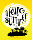 Hello summer lettering composition. Sun and tropical island with