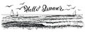 Hello summer, lettering with panoramic view of ocean or sea waves and yachts. Vector illustration.