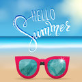 Hello summer lettering, sunglasses. Tropical background, blue ocean landscape
