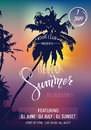 Hello summer lettering. Tropical palms, sunset background. Party invitation template