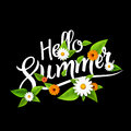Hello summer lettering typography with flowers on white.